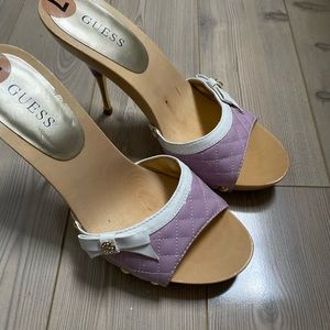 Vintage Guess Purple Leather Wooden High Heels